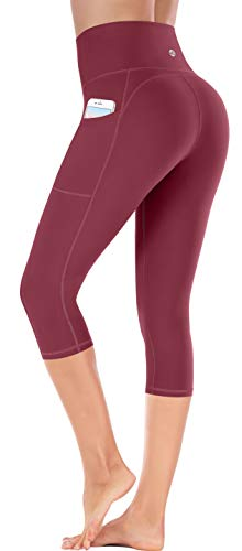 Ewedoos Yoga Pants with Pockets for Women Ultra Soft Leggings with Pockets High Waist Workout Pants (Ew327 Maroon, Large) (Best Looking Workout Clothes)