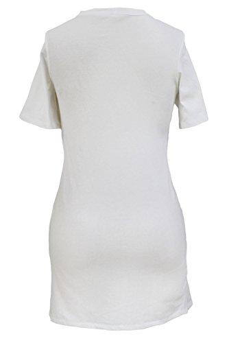 Nuevas señoras blanco Lace Up Front camiseta vestido Club Wear ropa tamaño s UK 8–�?0EU 36–�?8