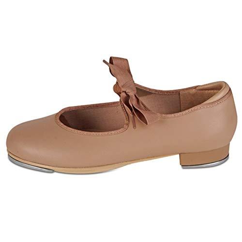 Danshuz Womens Tan Patent Grosgrain Ribbon Dance Tap Shoe Size 4.5 (Ribbon Patent)