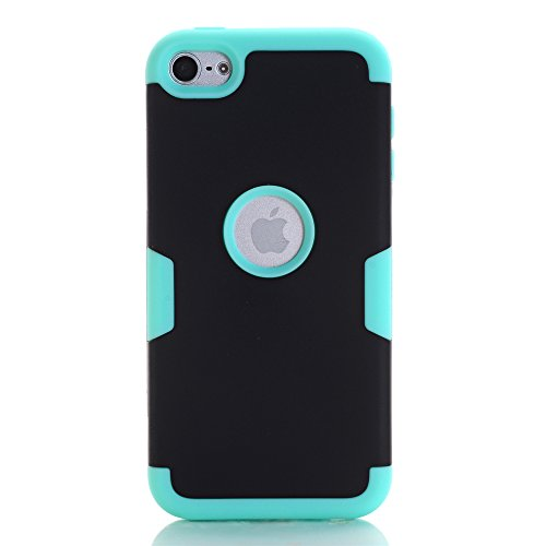 Price comparison product image iPod Touch 6 Case, iPod Touch 5 Case, KAMII 3in1 Hybrid Three Layer Shockproof Full-Body Protective Drop Resistance Silicon Hard Case Cover for Apple iPod Touch 5 6th Generation (Black+Aqua)