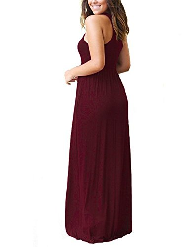 Women's Wine Short Maxi Casual Loose ORQ Plus Size with Dress Sleeveless Sleeve Pockets Long Plain TOqdA