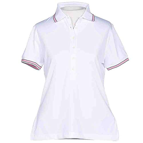 - PAGE & TUTTLE Womens Stripe Trim Jersey Golf Casual Polo White L