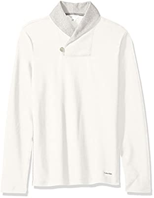 Calvin Klein Men's Long Sleeve Color Block Shawl Collar Sweater
