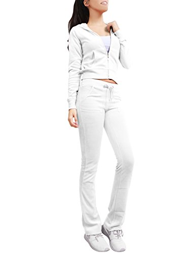 Velour Track Pant (NE PEOPLE Womens Velour/Cotton Hoodie and Sweatpants Tracksuit Set)