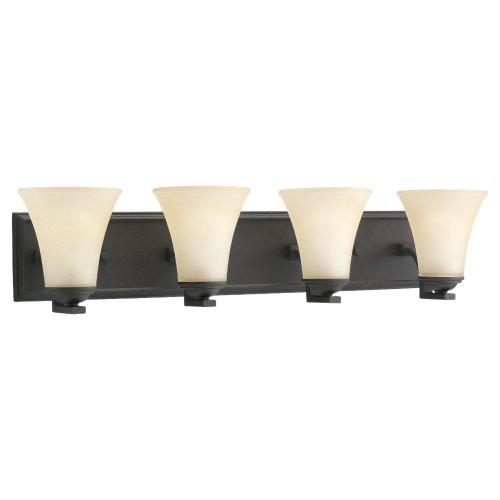 Sea Gull Lighting 44377-839 Bath Bar, Cafe Tint Glass Shades and Blacksmith, - Bath Finish 839 Blacksmith