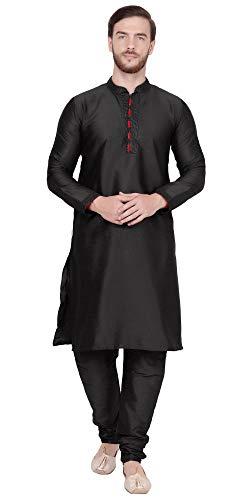 SKAVIJ Men's Art Silk Kurta Pajama Indian Traditional Dress (Medium, - Kurta Traditional