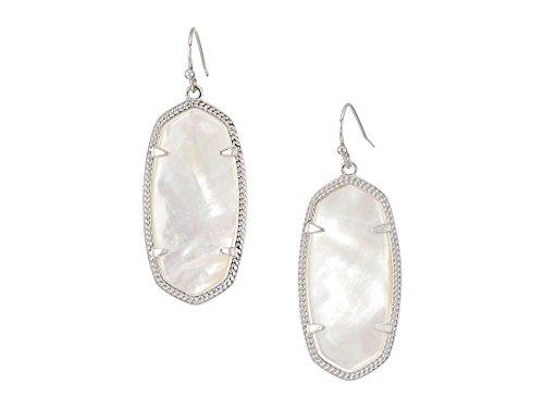 Kendra Scott Elle Silver Drop Earrings In Ivory Pearl