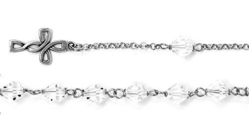 925 Swarovski Crystal Rosary Bracelet & Lourdes Prayer Card