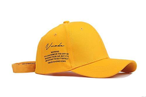 Beauty-OU Yellow Long Straps Kpop Baseball Cap Men Hip Hop Letter Bone Girls Boys Fashion Women Snapback Korean Hats,Yellow Short Belt