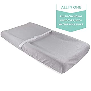 New Waterproof Plush Change Pad Cover 100% Cotton Velvet | no Need for Changing Pad Liner (Grey)