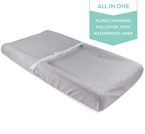 Waterproof Plush Change Pad Cover 100% Cotton Grey Velvet by Ely's & Co no Need for Changing Pad Liner