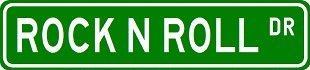 (ROCK N ROLL Street Sign ~ Custom Sticker Decal Wall Window Door Art Vinyl Street Signs - 8.25