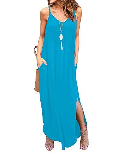 Newchoice Womens Spaghetti Strap Summer Maxi Dresses Pockets Loose Casual Long Beach Dress Flowy Swing Sundresses (Light Blue, M)]()