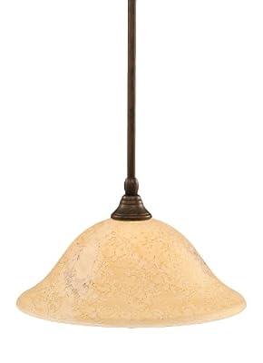 Toltec Lighting 23-BRZ-528 Stem Mini-Pendant Light Bronze Finish with Italian Marble Glass