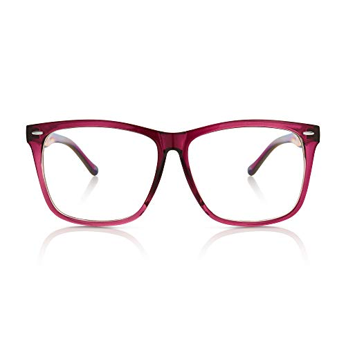 5zero1 Fake Glasses Big Frame Clear For Women Men Fashion Classic Retro Costumes Party Halloween, Purple ()