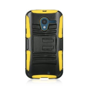 """VMG 4-In-1 Wall Charger Combo for Motorola Moto X MotoX (Original, 1st Gen, 2013 Version; Moto """"X"""") Cell Phone Hybrid PC+Silicone Built-In Kickstand Case with Compatible Belt Clip Holster Cover - Yellow + LCD Clear Screen Saver Protector + Premium Home Wall Travel Charger"""