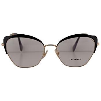 4ed4c9b2335bb9 Amazon.com  Miu Miu MU54PV Eyeglasses 54-17-145 Black w Demo Clear ...