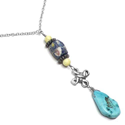 Turquoise-Color Stone Teardrop Chain Necklace Celtic Knot African Sand-Cast Bead - Serpentine Turquoise Necklace