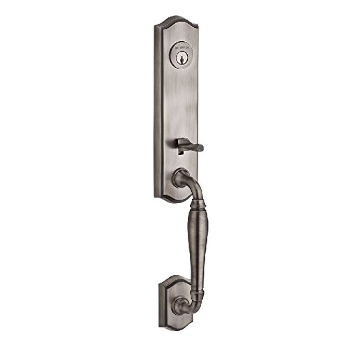Baldwin Reserve SCNEWXCURLTAR152X150 Single Cylinder New Hampshire Handleset Left Hand Curve Lever and Traditional Arch Rose Matte Antique Nickel by Satin Nickel Finish Cylinder New Hampshire Handleset
