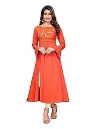 ziya Women Orange Colour Anarkali Kurta 352