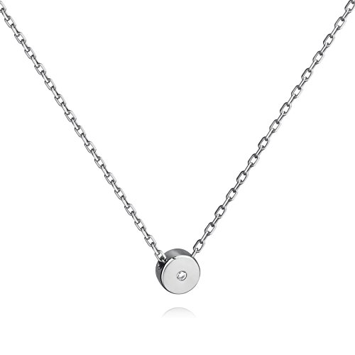 Simple Dot Necklace Sterling Silver Floating Cubic Zirconia Circle Pendant Minimalist Necklace (Small Disc Pendant)