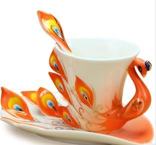 Collectable Fine Arts China Porcelain Tea Cup and Saucer Coffee Cup Peacock Theme Romantic Creative Present for Wedding/christmas Three Sets (orange)