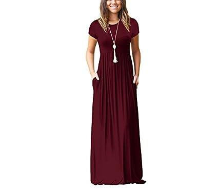 Gudelaa Vestidos Largos Largos de Manga Larga para Mujer Vestido Casual con Bolsillos de Vino Tinto