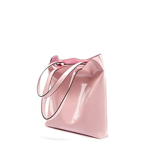 Purses and Handbags Women Totes Shoulder Bags Zip Shopper Light and Thin Soft Leather Lightweight Waterproof Classy Pink ()