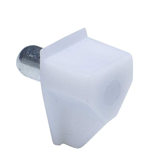 5mm Bracket Style Cabinet Shelf Support Pegs - White Plastic w/Steel Pin - 25 Pack
