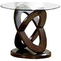 Furniture of America Xenda End Table with 8mm Tempered Glass Top and Cross Shaped Base, Dark Walnut Finish