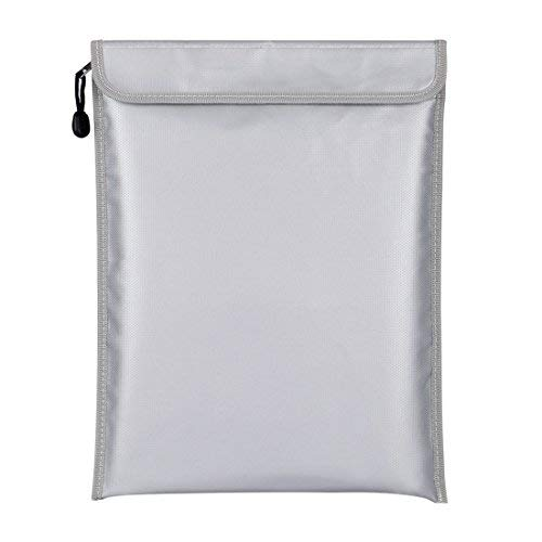 Fireproof Document Bags, Fireproof Money Bag Zipper Closure No-Itch Silicone Coated Fiberglass- Silver, 11x15 Inch