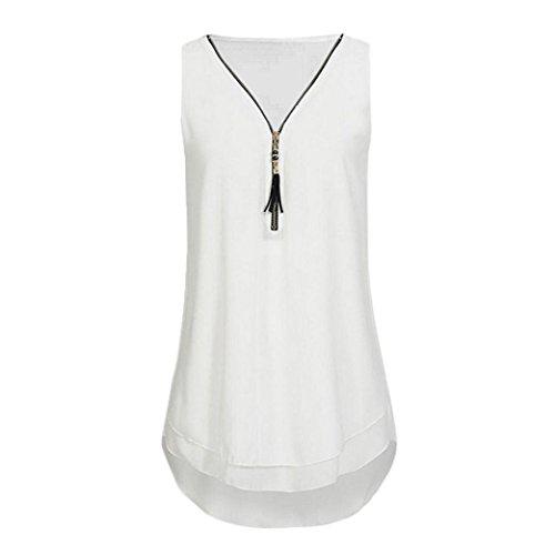 CUCUHAM Women Loose Sleeveless Tank Top Cross Back Hem Layed Zipper V-Neck T Shirts Tops(AA-White, XXXXL) ()