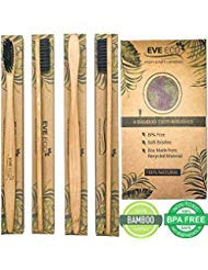 Wood Toothbrush Bamboo | Vegan Charcoal Soft bristles for Sensitive Gums | Organic Biodegradable Wooden BPA Free for Adult & Kids | Eco-Friendly Recycle Natural toothbrushes Set 4 Pack ()