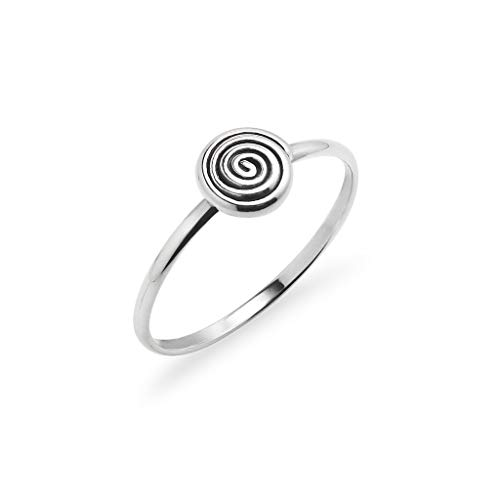 925 Sterling Silver Spiral Design Ring | Fashion Innovative Sacred Jewelry | Size ()