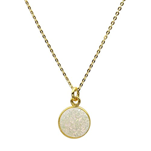 (White Druzy Agate 18K Gold-Flashed Sterling Silver Pendant Cable Chain Necklace 18
