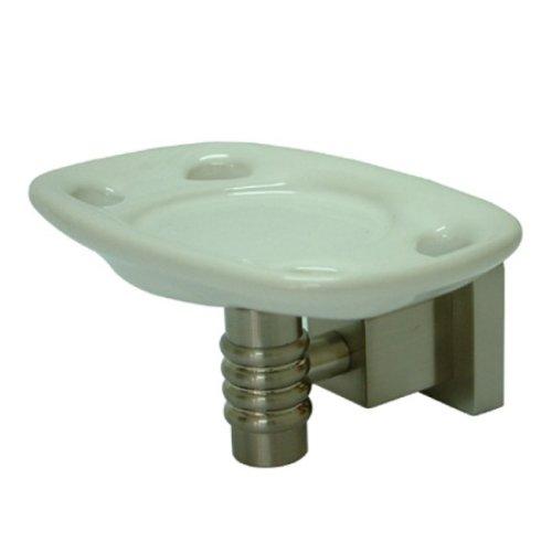 Kingston Brass BAH4646SN Round Toothbrush Holder with Ceramic Tumbler, Satin Nickel