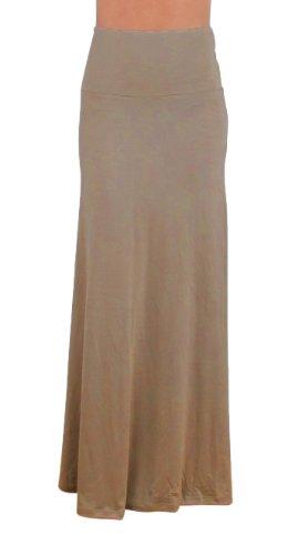 Free to Live Women's Foldover High Waisted Maxi Skirt (Medium, Mocha)