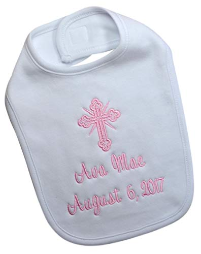 Christening Bib for Baby Girls Personalized and Embroidered with Baptism Date and Name in LIGHT PINK THREAD Aunt Personalized Baby Bib