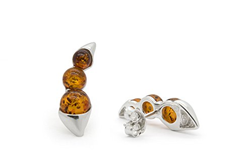 925 Sterling Silver Climber / Crawler Stud Earrings with Cognac Genuine Natural Baltic Amber.
