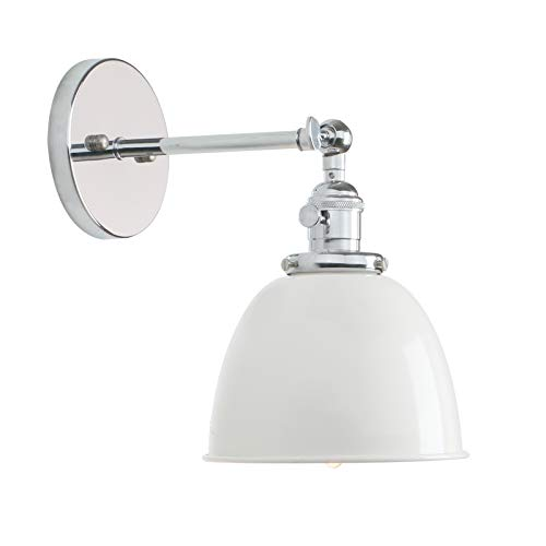 PERMO Polished Chrome 6.3-Inch Metal Dome Shade Vintage Industrial Wall Sconce Lighting Fixture (White)
