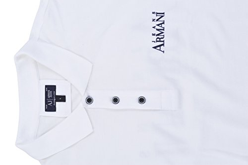Armani Jeans Polo Poloshirt Herren Weiß Blau Regular Fit Baumwolle Casual S