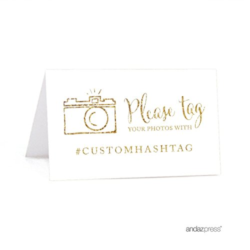 Andaz Press Personalized Hashtag Table Tent Place Cards, Double-Sided, Gold Glitter Print, 20-Pack, Custom Hashtag for Social Media Instagram Facebook Photo Tagging