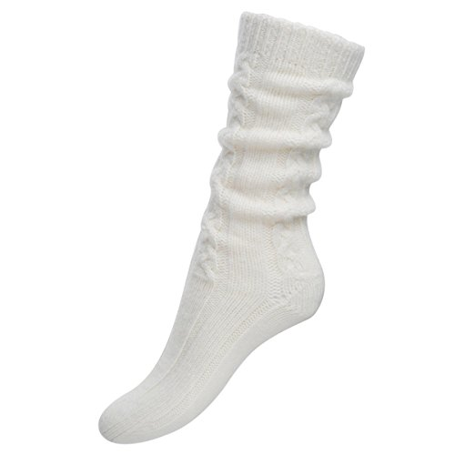 Pure Cashmere Cable Knit Bed Socks for Women Made in Scotland (White)