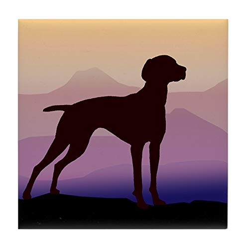 CafePress Vizsla Dog W/Purple Mountains Tile Coaster, Drink Coaster, Small Trivet
