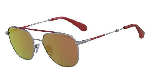 Óculos Calvin Klein Jeans Ckj165S 020 Prata Vermelha Lente Espelhada Ouro  Tam 53 ec77e5ecd0