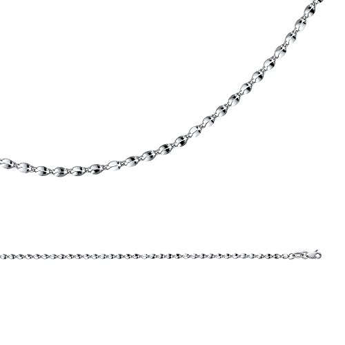 Mirror Chain Solid 14k White Gold Necklace Curved Double Link Hollow Polished Light, 2.2 mm - 16 inch