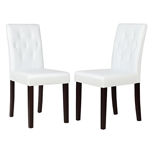 Kitchen Dinette Dining Room Chair Elegant Design Leather Backrest,Set of 2,Ivory White