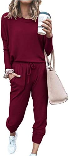 PRETTYGARDEN Women's Solid Two Piece Outfit Long Sleeve Crewneck Pullover Tops And Long Pants Sweatsuits Tracksuits