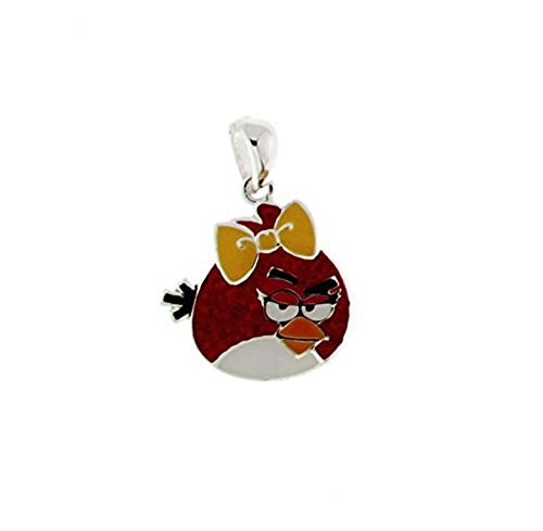 Angry Birds Red Enamel Crystal Pendant with Chain Brass