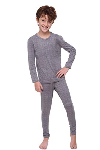 Children Thermal Underwear Set by Outland; Base Layer; Soft Fleece; Top&Leggings Heather Gray